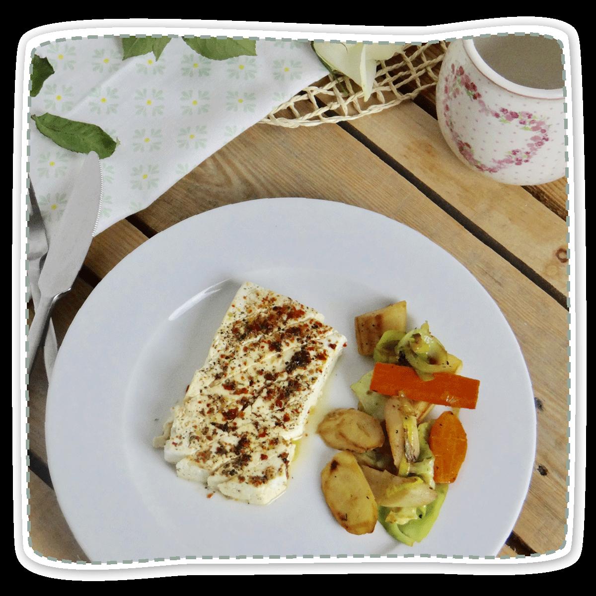 Schwarzwurzel-Kohlpfanne mit gebackenem Feta