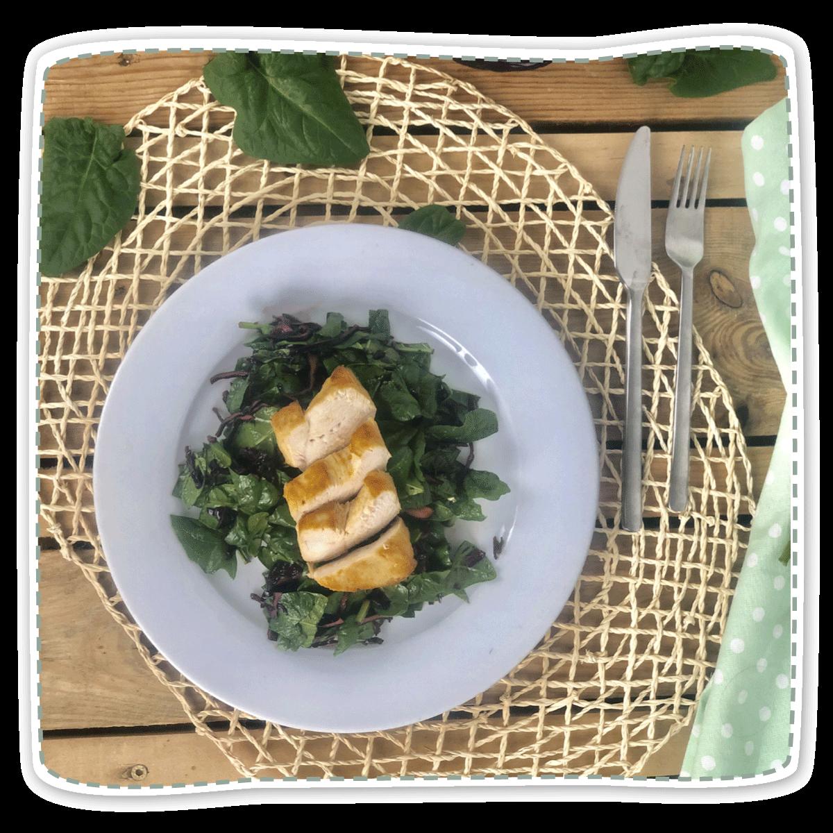 Spinat-Rotkohl-Apfelsalat mit Hähnchenbrust
