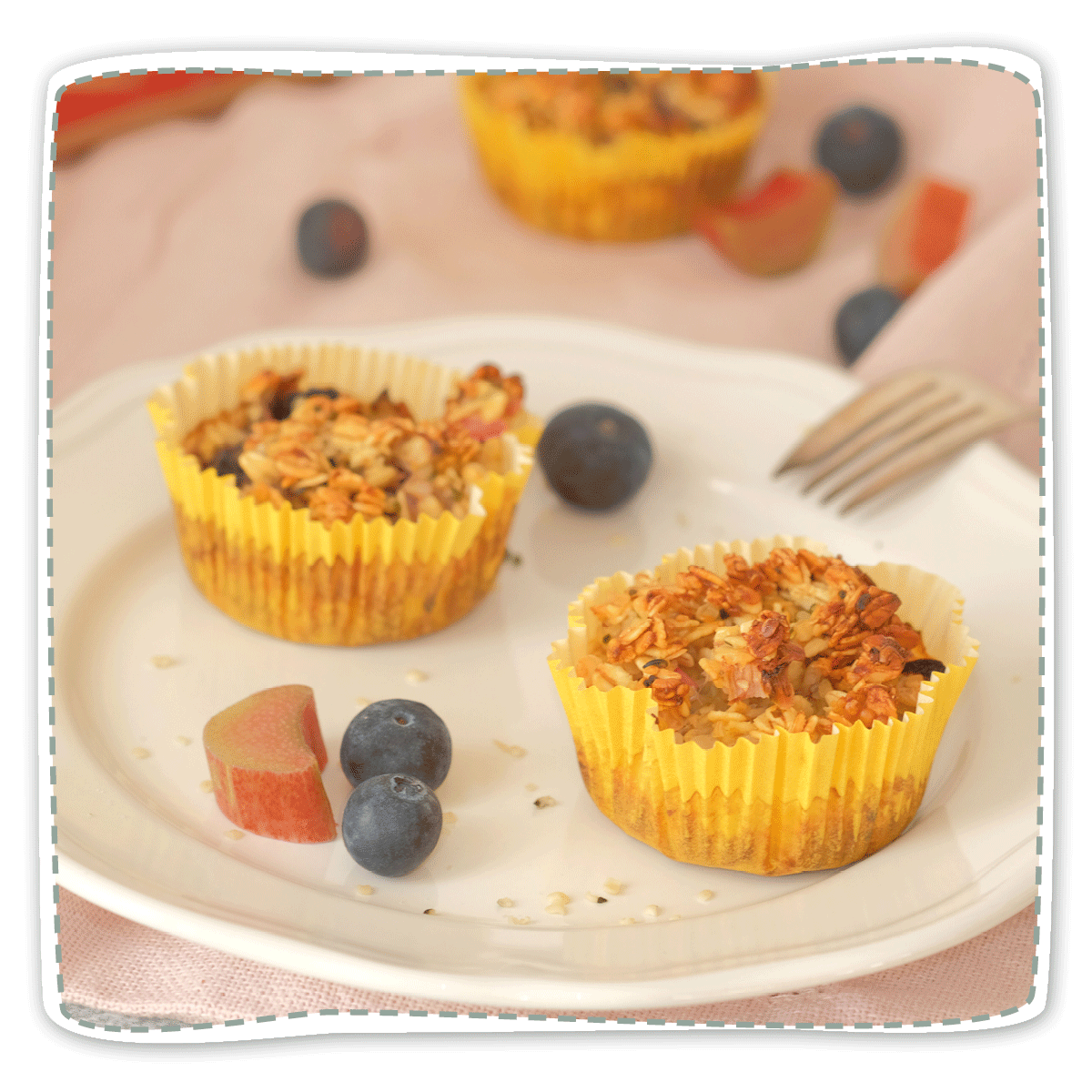 Baked Oatmeal mit Rhabarber