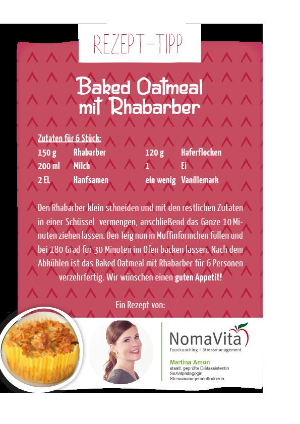 Baked Oatmeal mit Rhabarber - schnelles Rezept für leckere Muffins!